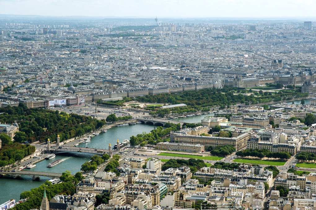 View on Seine from the top of the Eiffel Tower