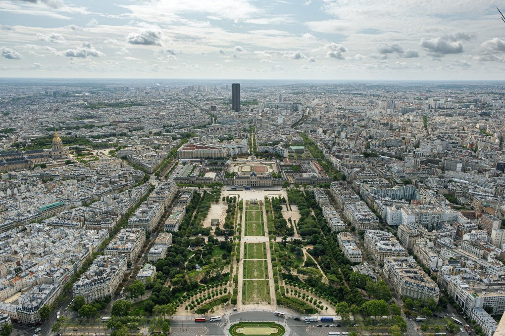 View on Champ de Mars from the top of the Eiffel Tower