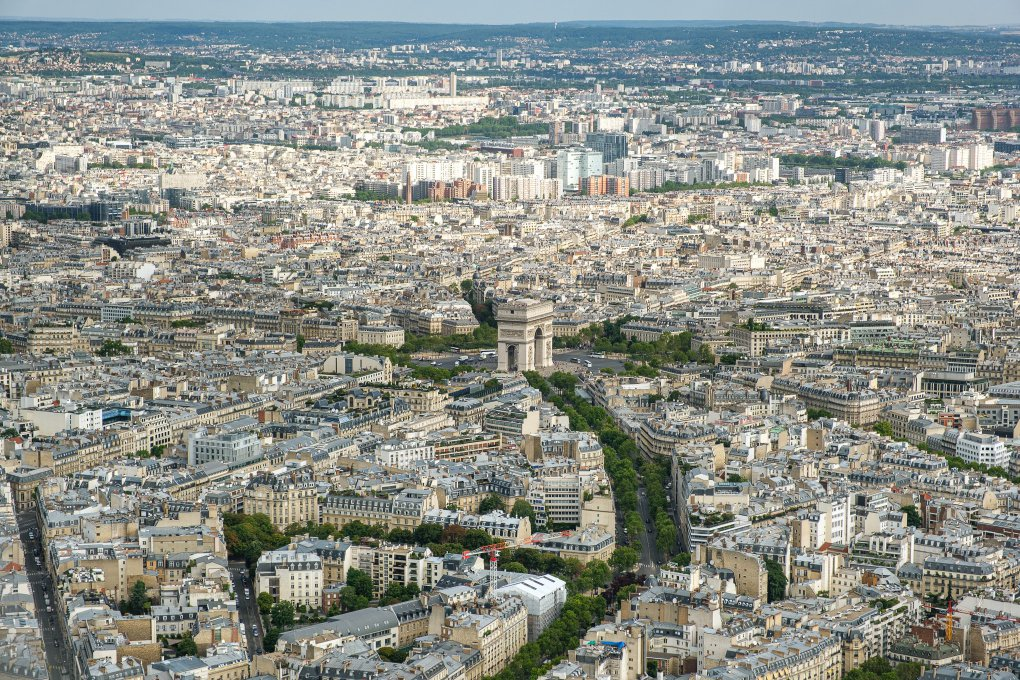 View on Arc de Triomphe from the top of the Eiffel Tower